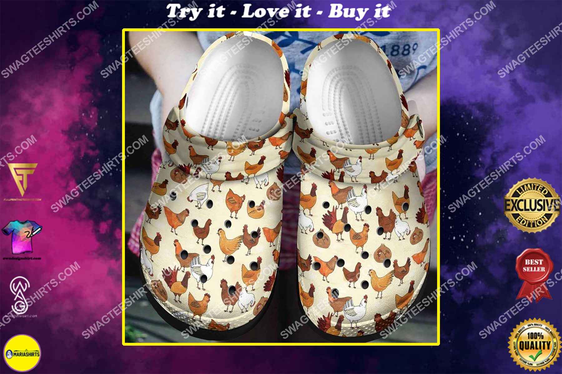 farm life chicken all over printed crocs