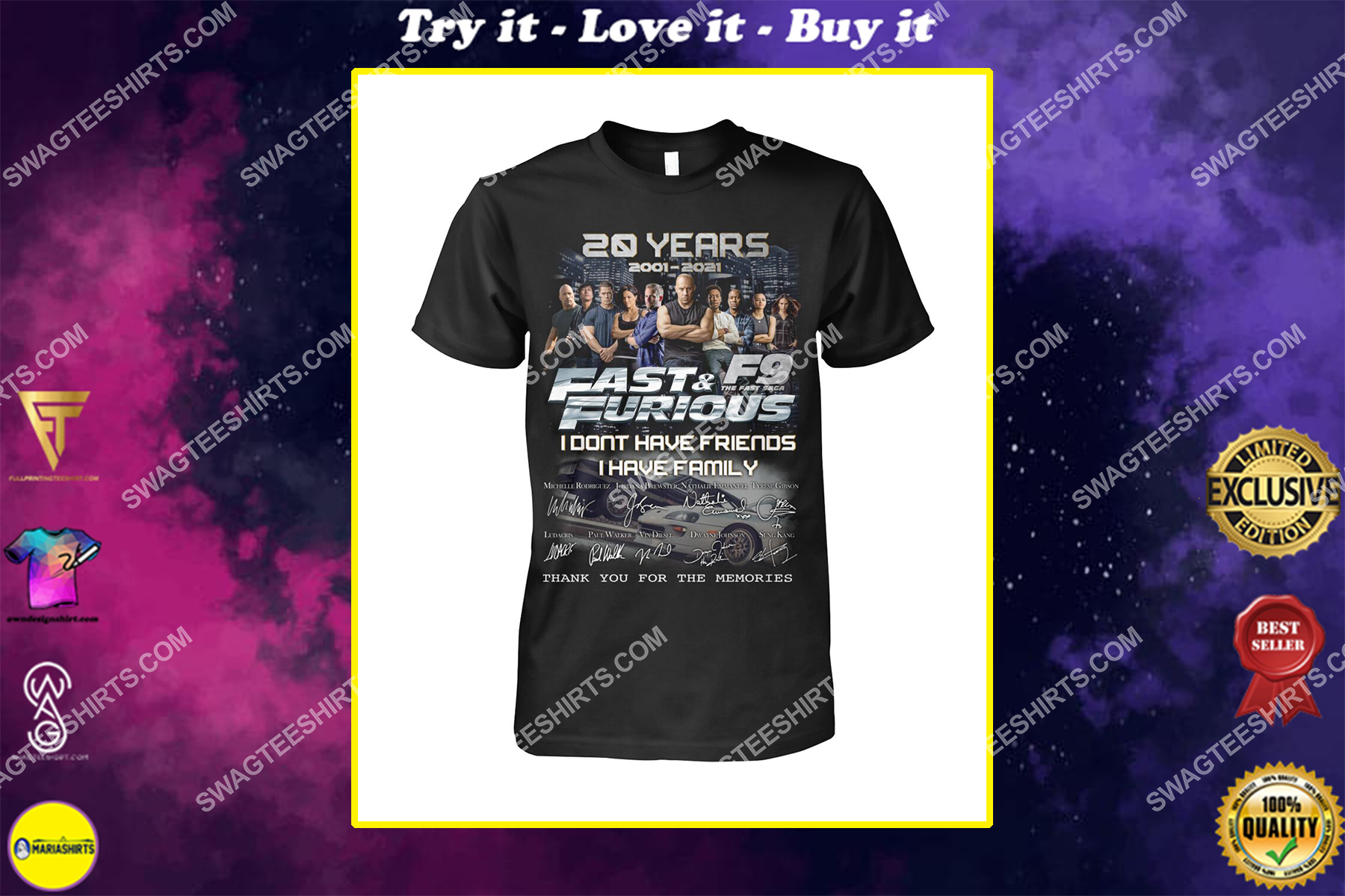 fast and furious 20 years i don't have friends i have family shirt