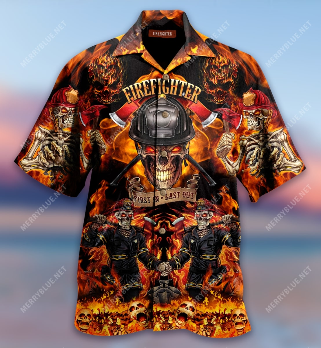 firefighter first in last out all over print hawaiian shirt 2