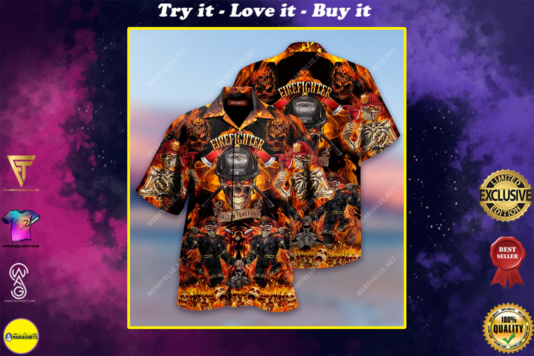 firefighter first in last out all over print hawaiian shirt