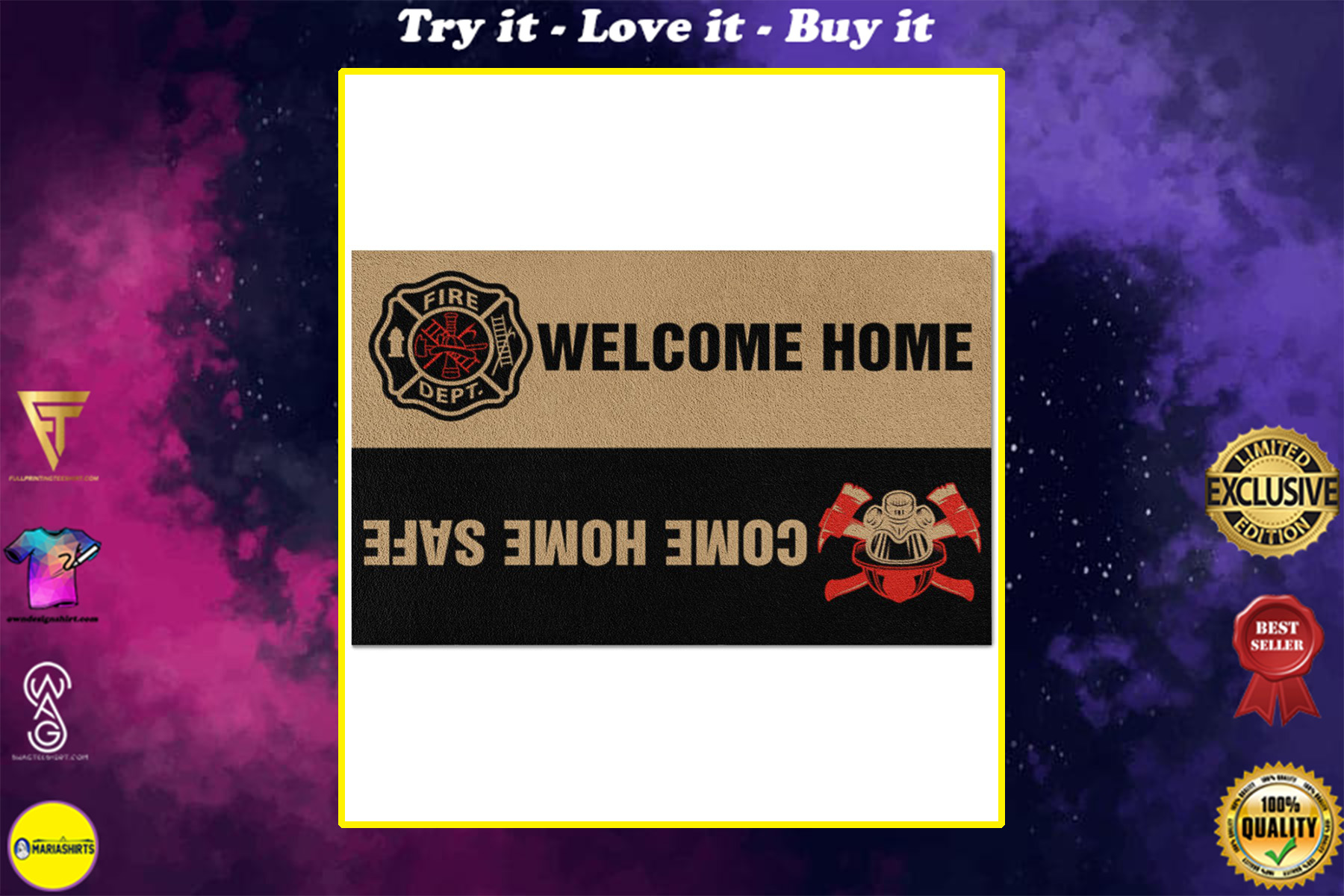 firefighter welcome home full printing doormat