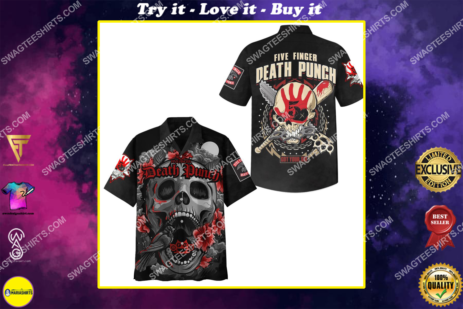 five finger death punch got your six full printing hawaiian shirt