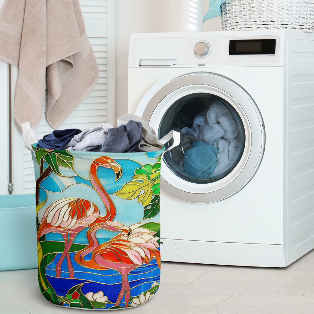 flamingo all over printed laundry basket 2