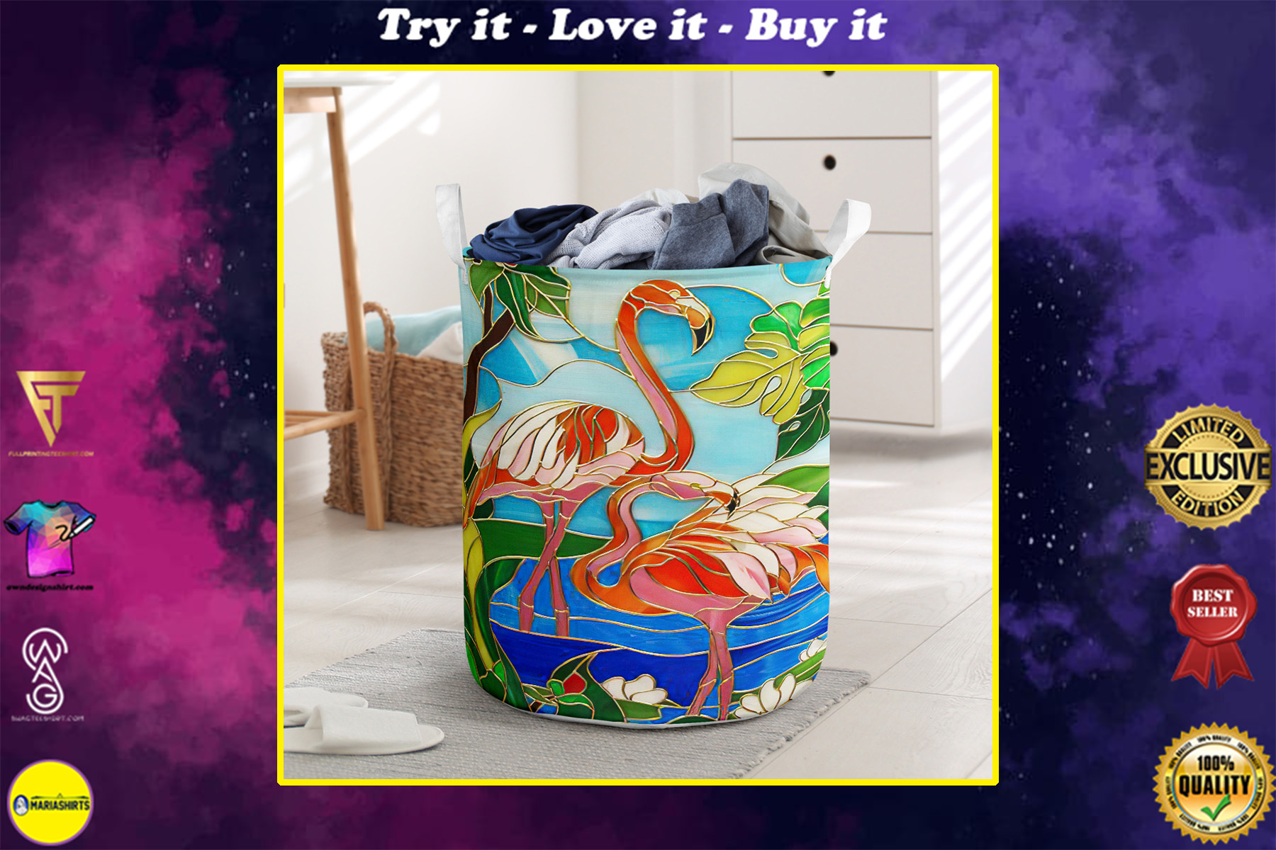 flamingo all over printed laundry basket