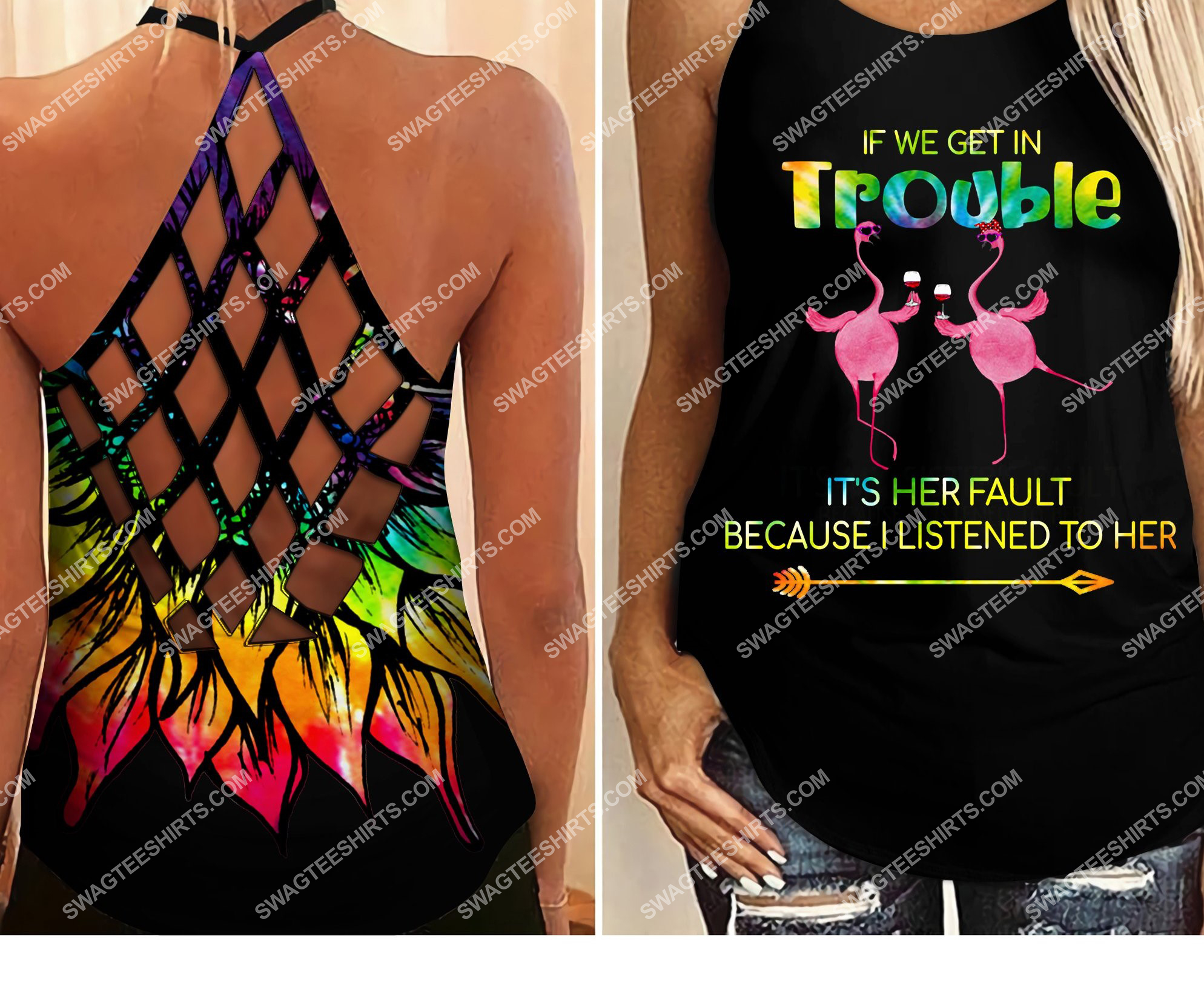 flamingo if we get in trouble all over printed strappy back tank top 2