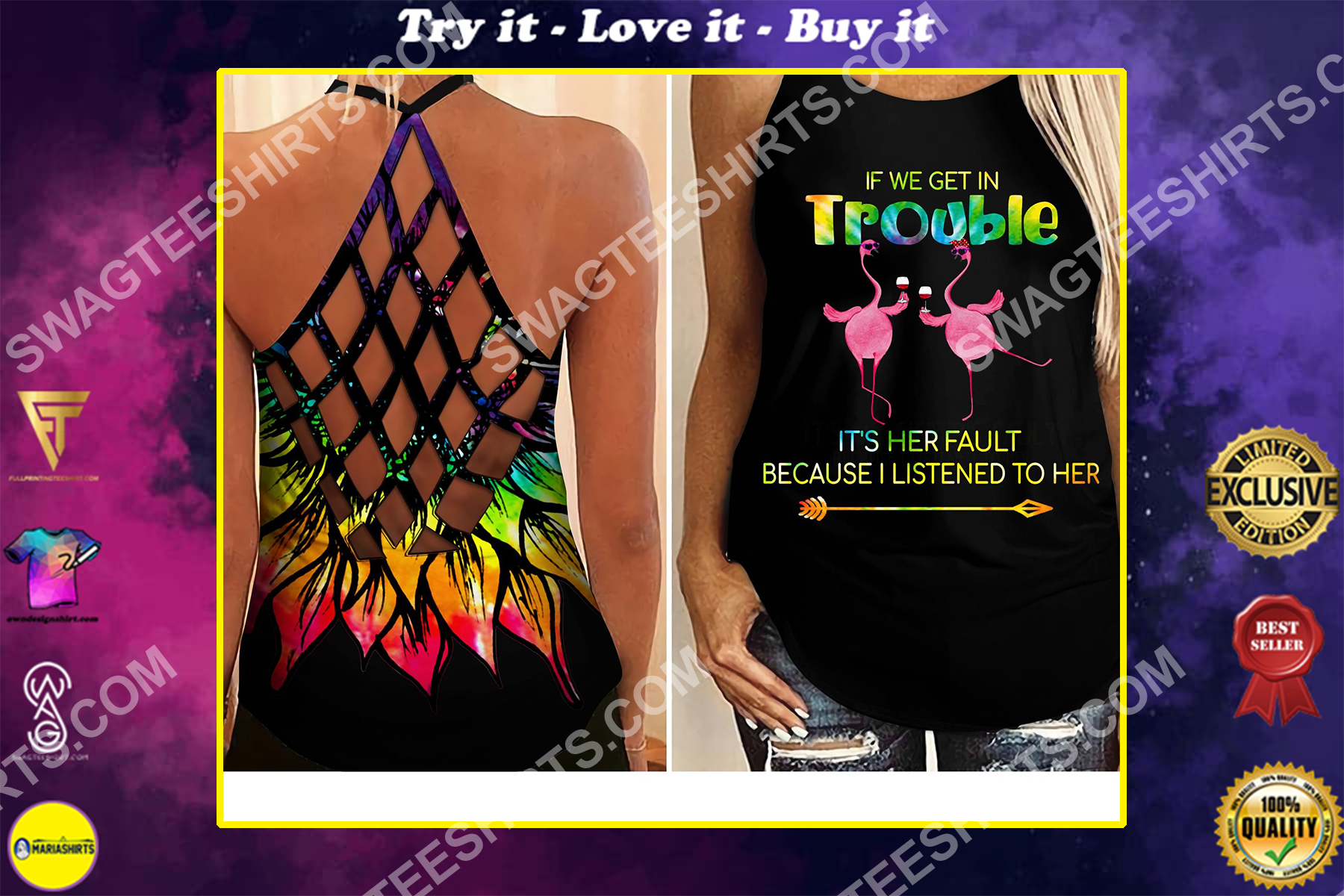 flamingo if we get in trouble all over printed strappy back tank top