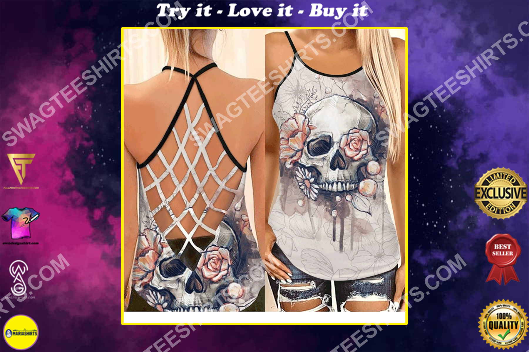 floral skull all over printed strappy back tank top
