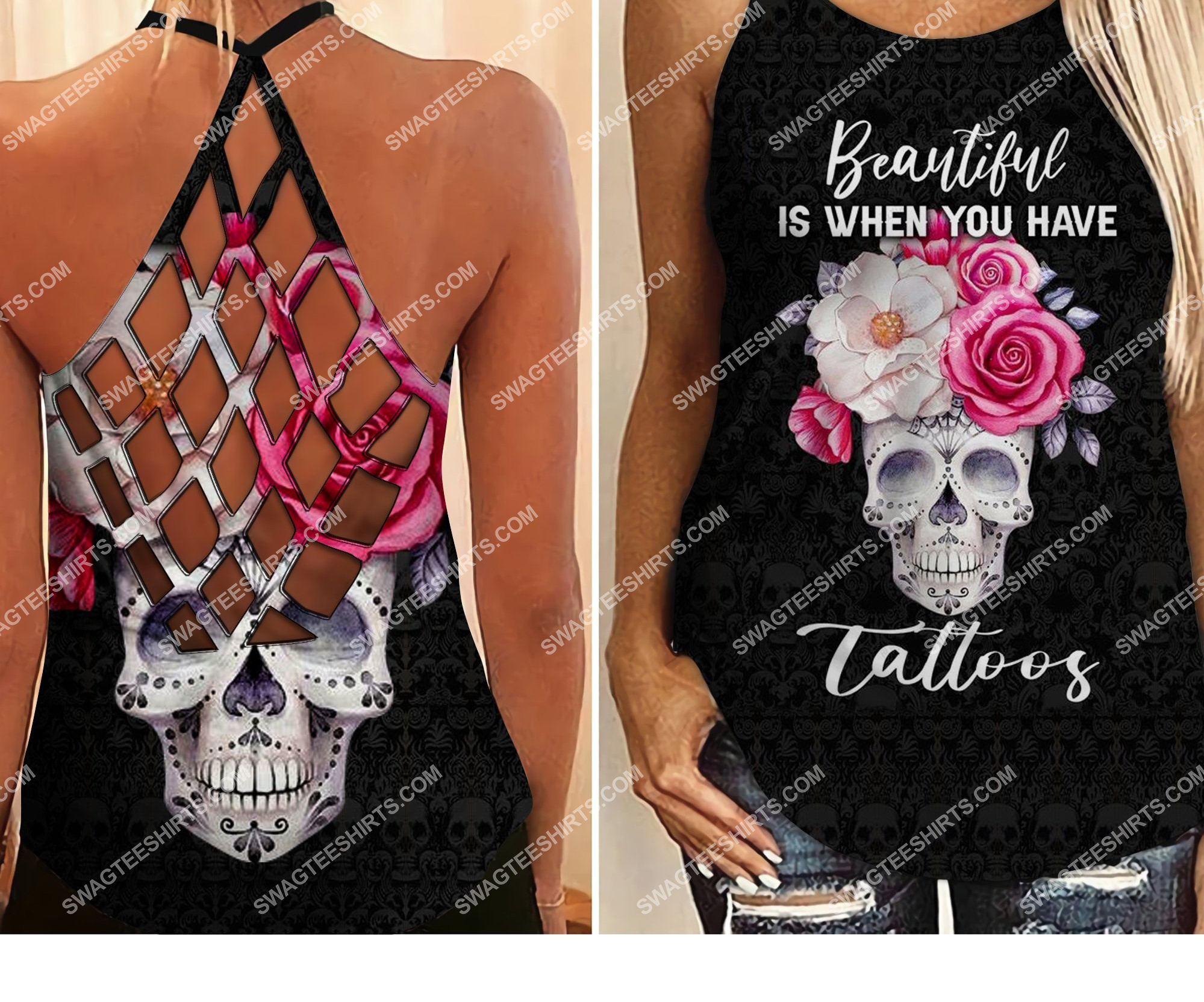 floral skull beautiful is when you have tattoos strappy back tank top 2 - Copy (2)
