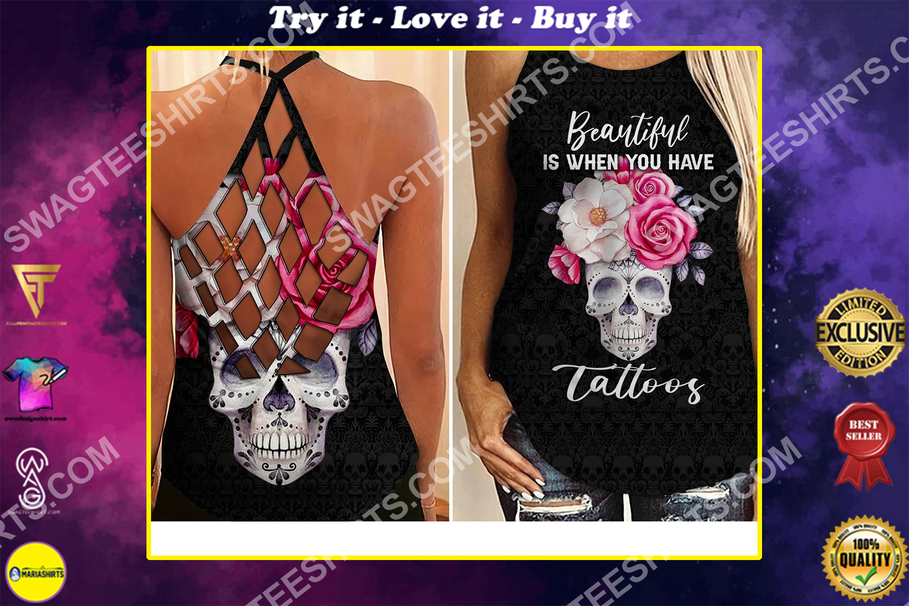 floral skull beautiful is when you have tattoos strappy back tank top
