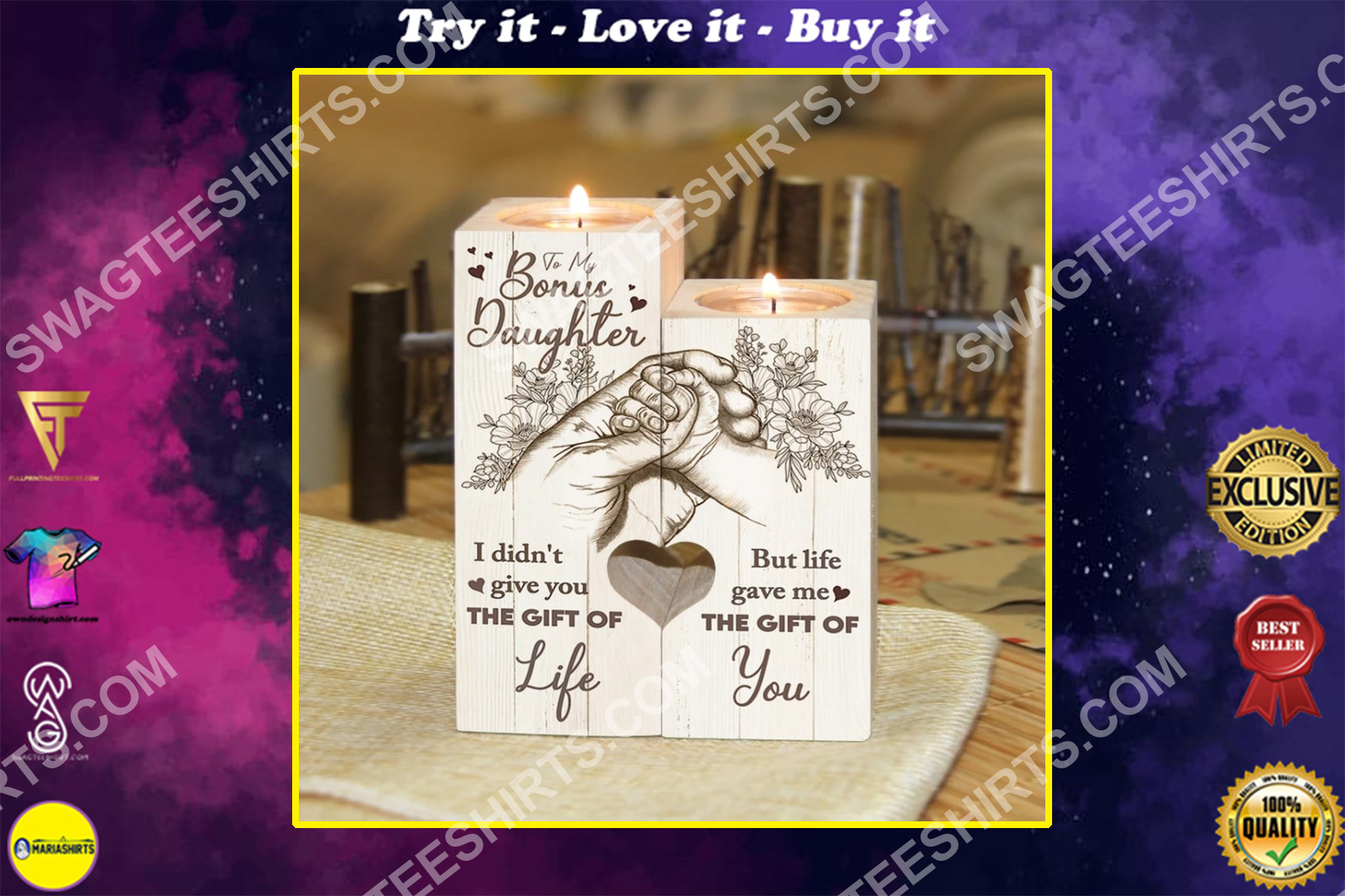 floral to my bonus daughter life gave me the gift of you candle holder
