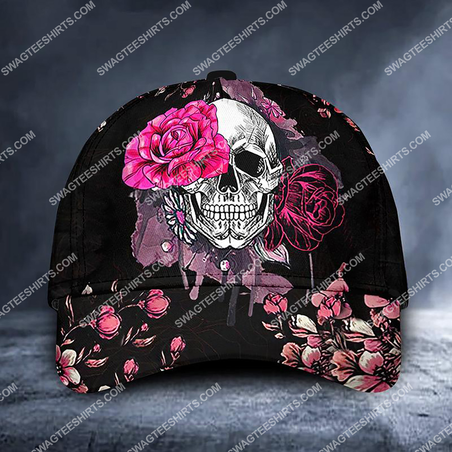 flower and skull all over printed classic cap 3 - Copy