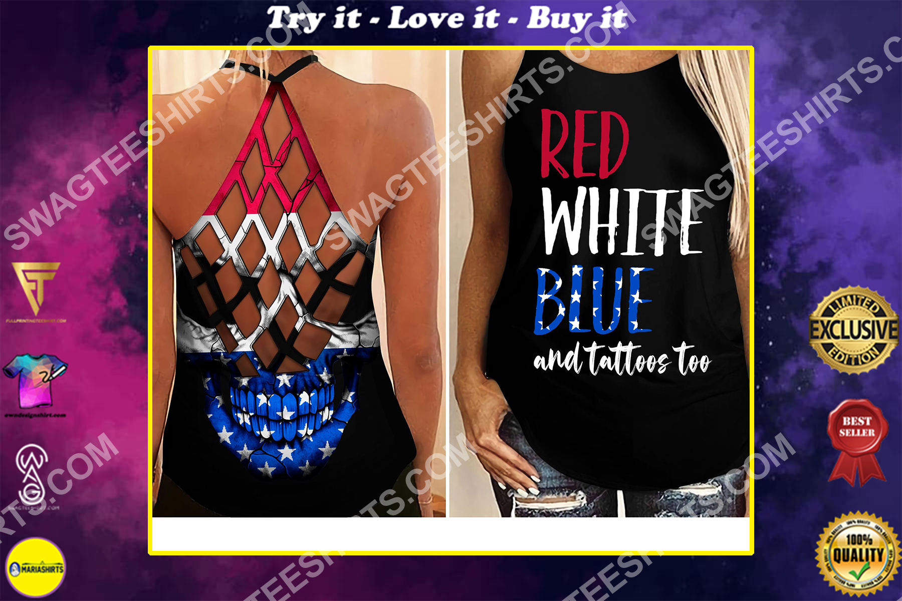 fourth of july red white blue and tattoos too all over printed strappy back tank top