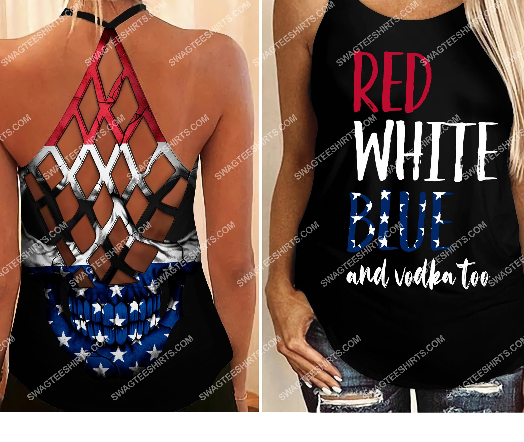 fourth of july red white blue and vodka too all over printed strappy back tank top 2 - Copy