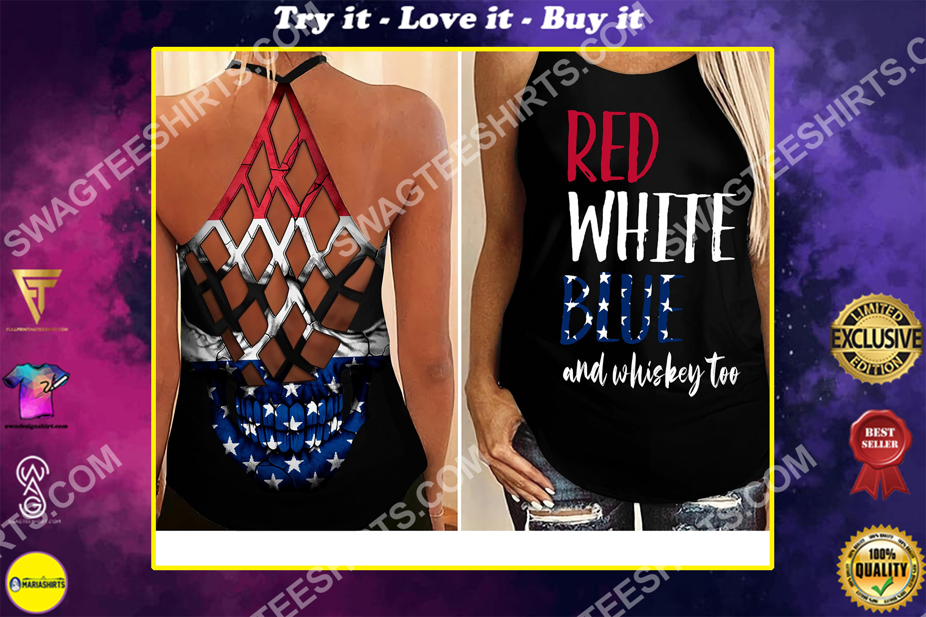 fourth of july red white blue and whiskey too all over printed strappy back tank top