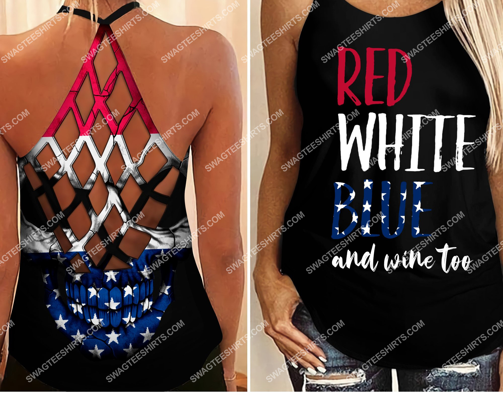fourth of july red white blue and wine too all over printed strappy back tank top 2 - Copy (2)