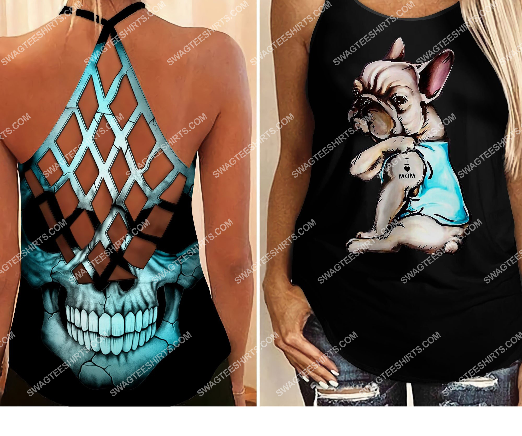 frenchie dog i love mom all over printed strappy back tank top 2 - Copy (2)