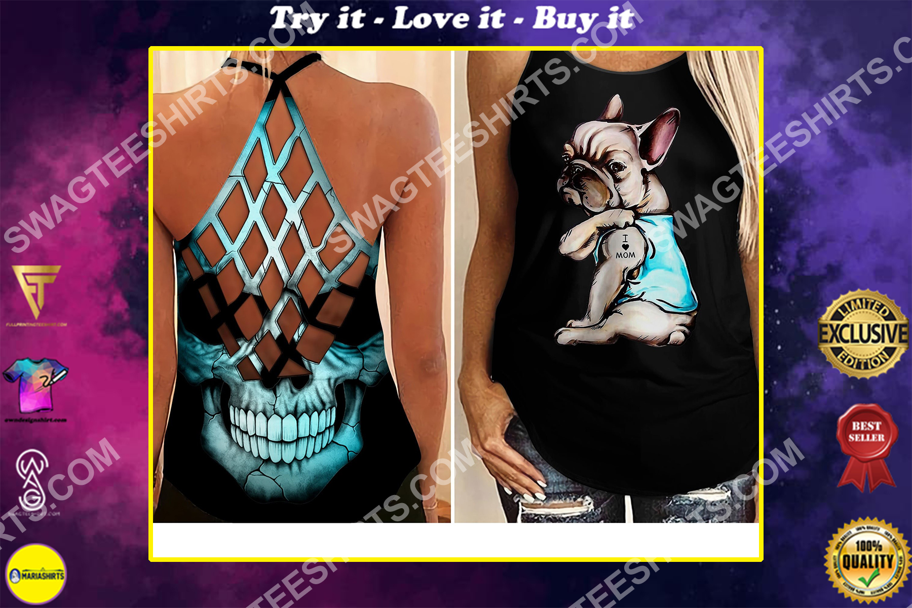 frenchie dog i love mom all over printed strappy back tank top