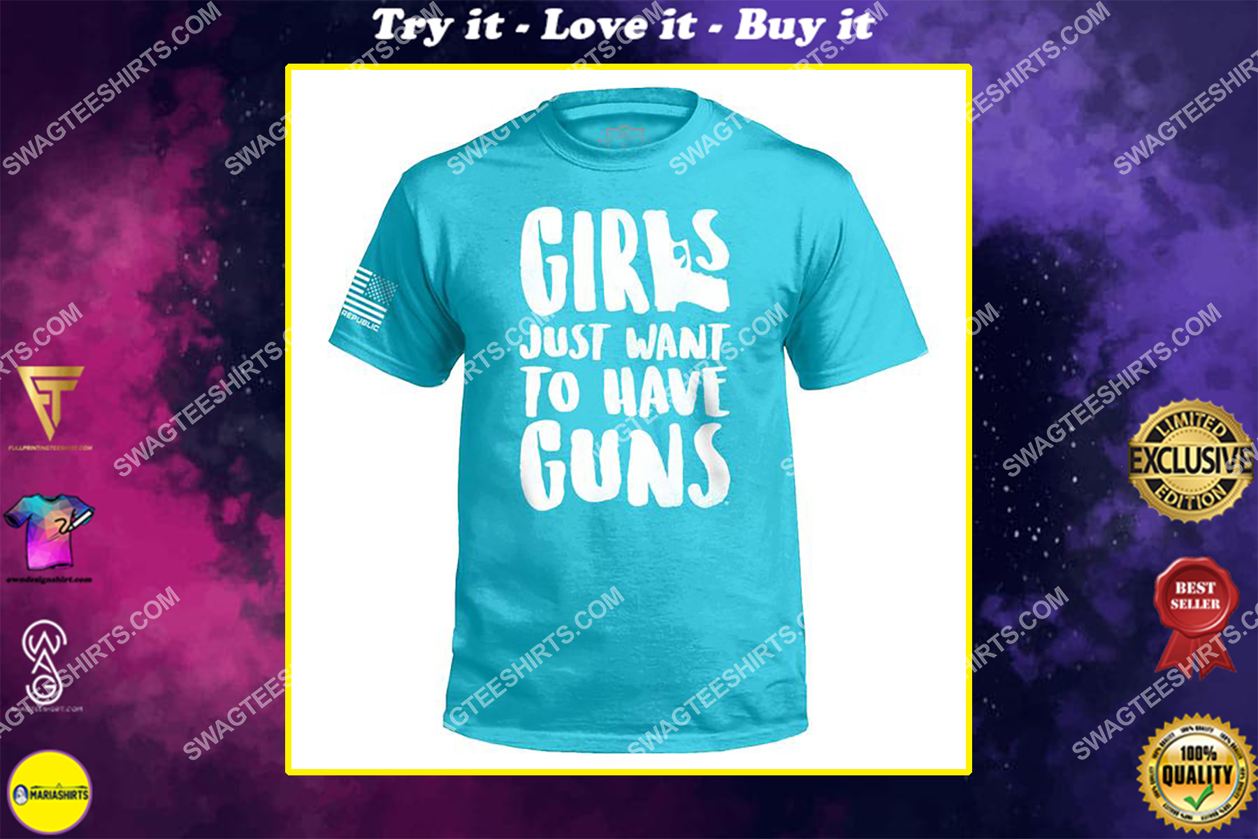 girls just want to have guns gun control political shirt