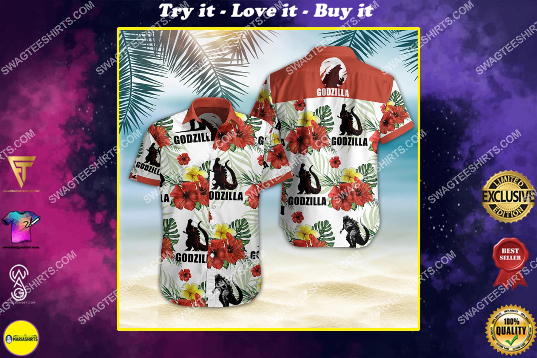 godzilla movie all over print hawaiian shirt
