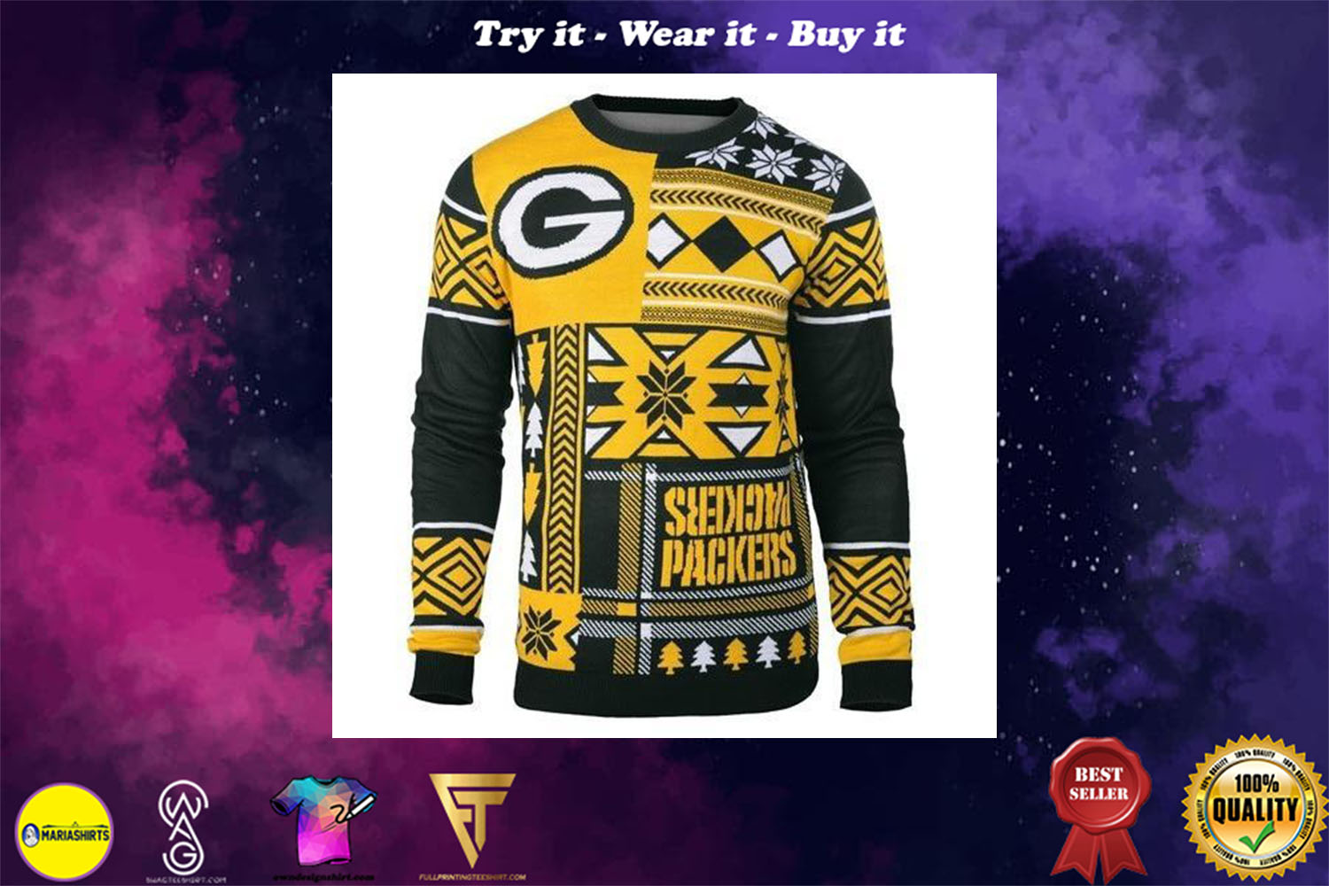 green bay packers patches ugly christmas sweater
