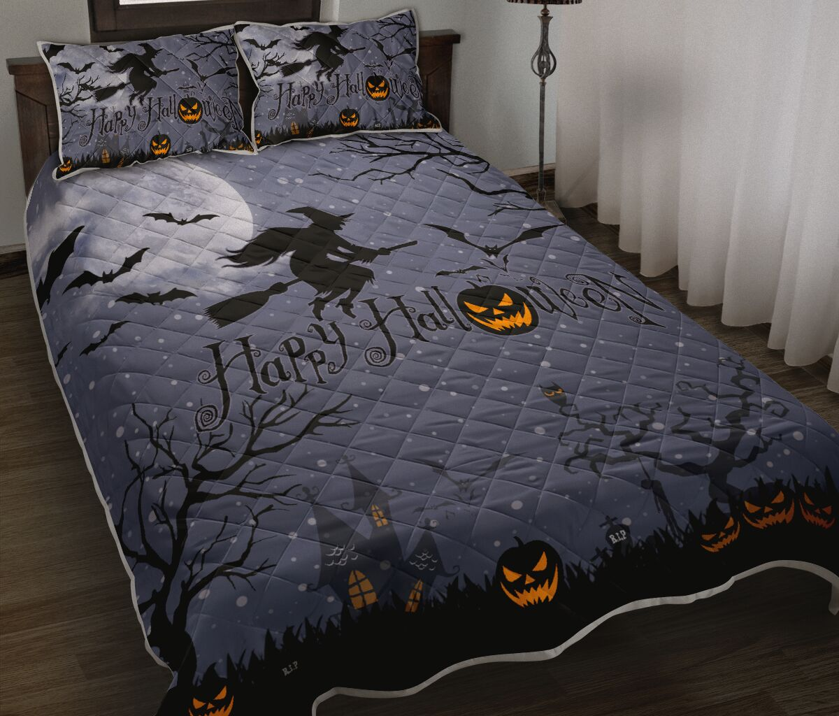 happy halloween witch and pumpkin full printing bedding set 2