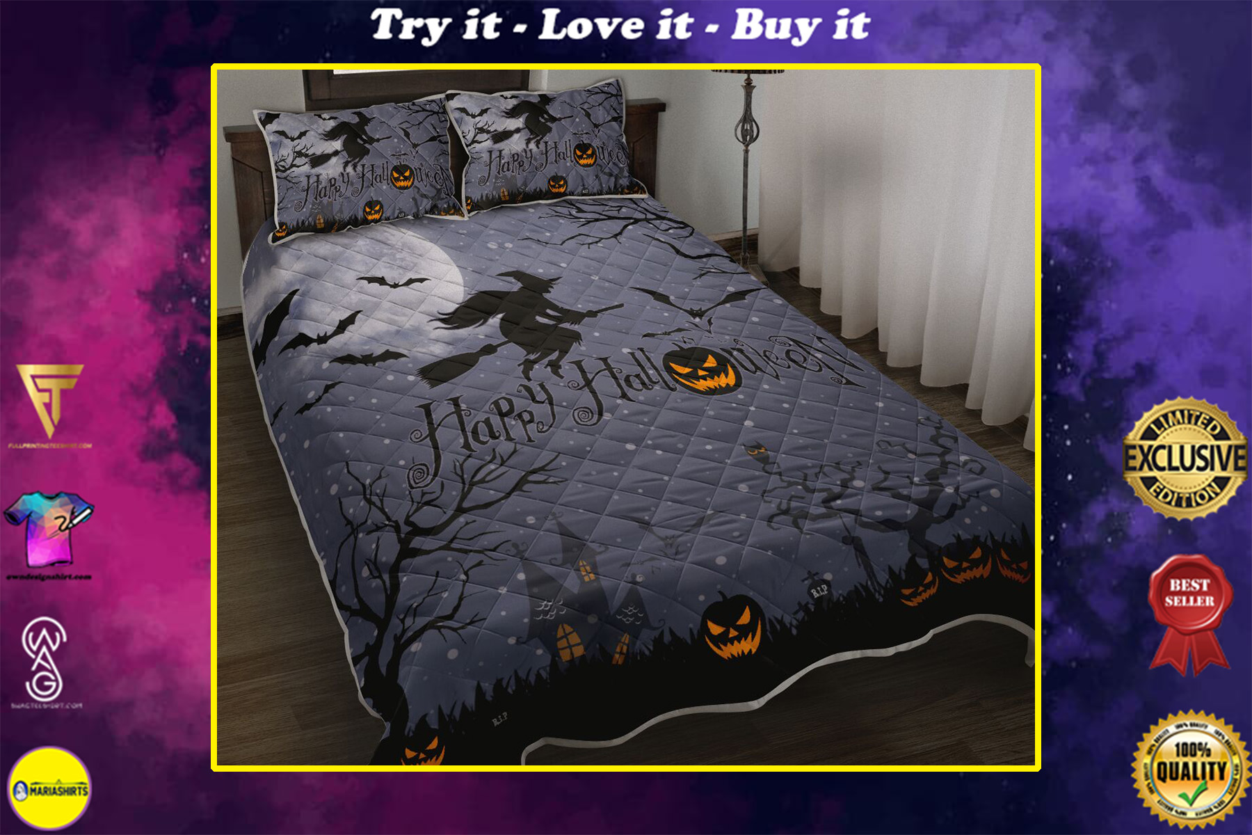 happy halloween witch and pumpkin full printing bedding set