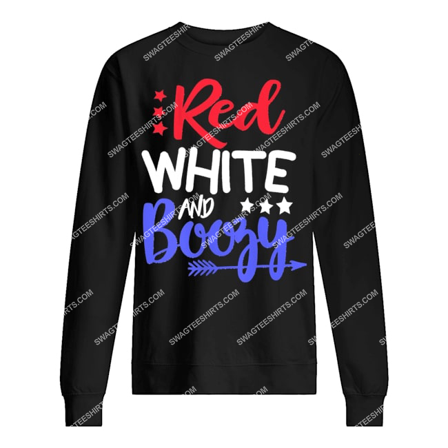 happy independence day red white and boozy sweatshirt 1