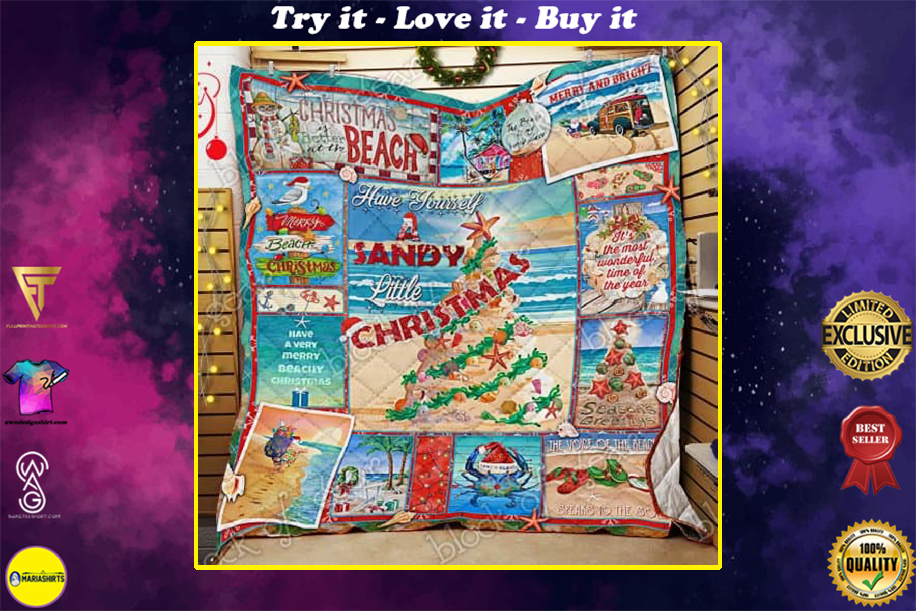 have yourself a sandy little christmas full printing quilt