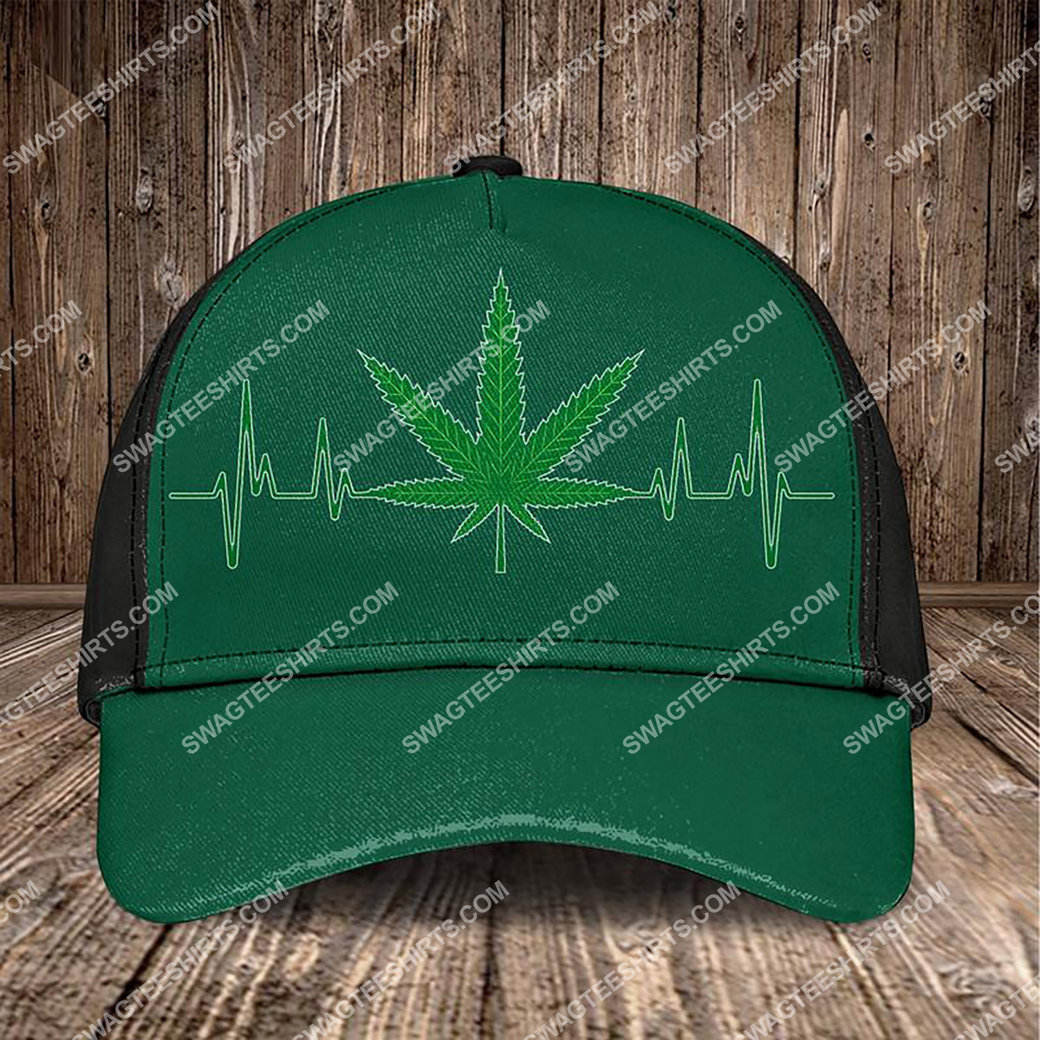 heartbeat and cannabis leaf all over printed classic cap 3 - Copy (2)