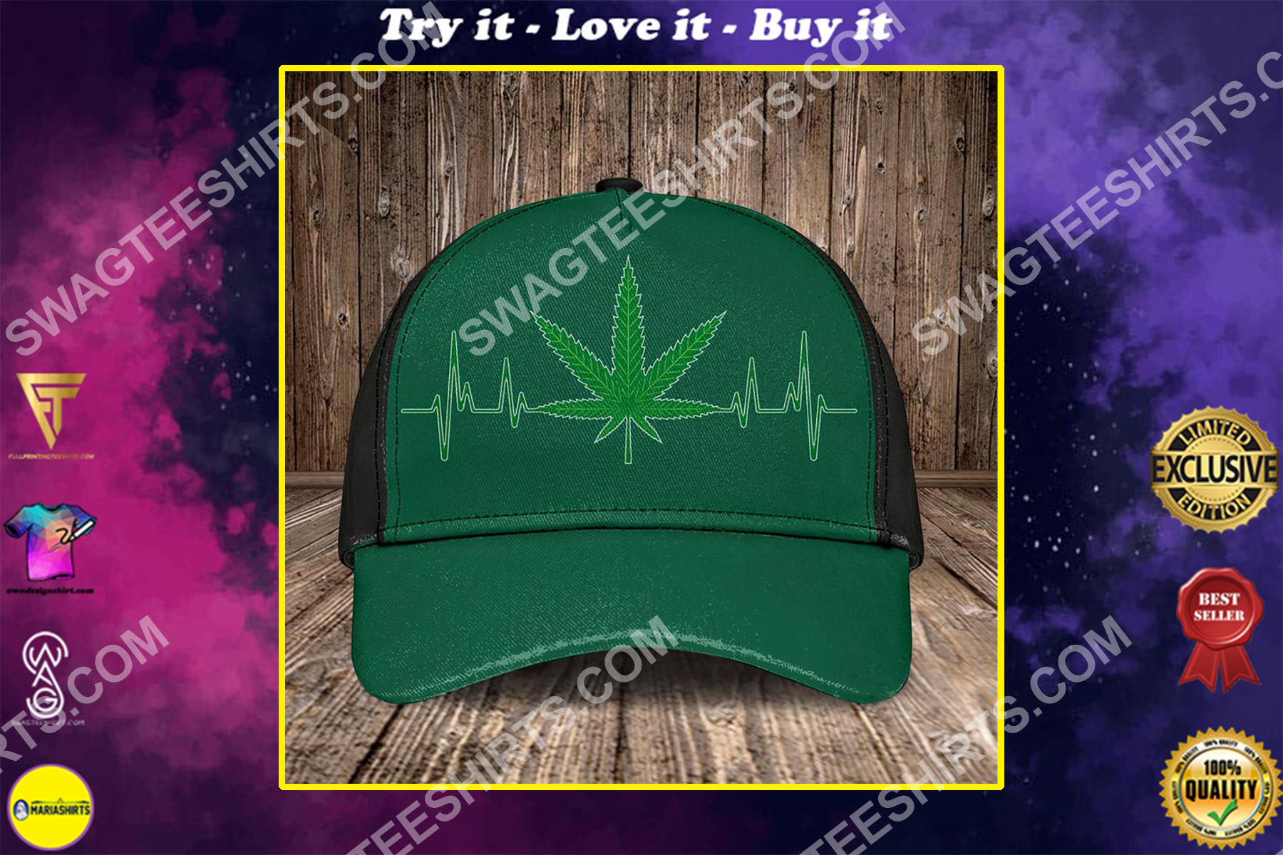 heartbeat and cannabis leaf all over printed classic cap