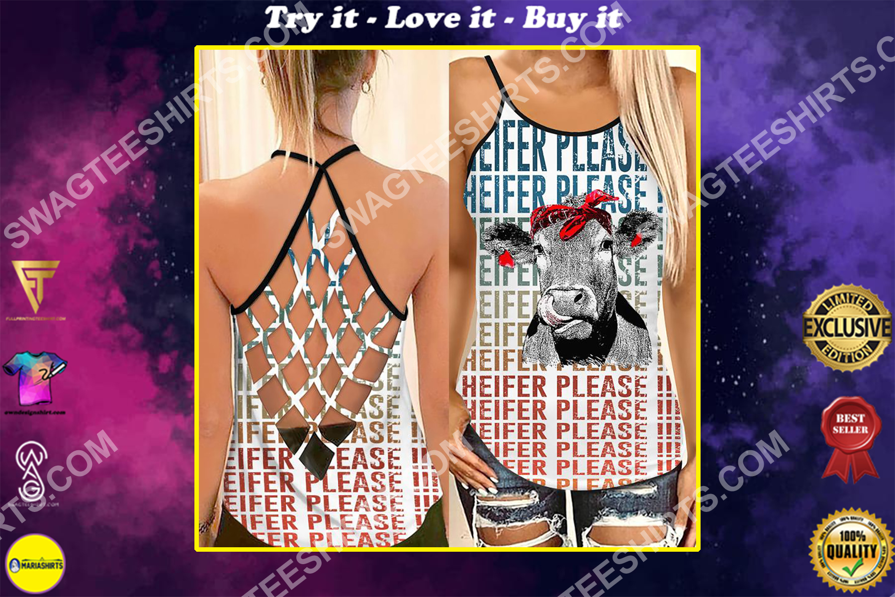 heifer please all over printed strappy back tank top