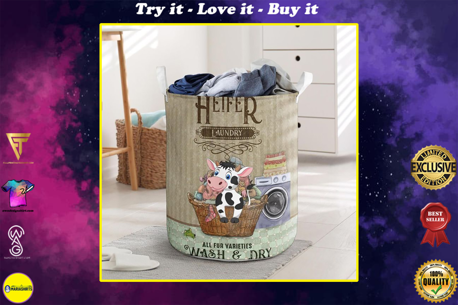 heifer wash and dry all over printed laundry basket