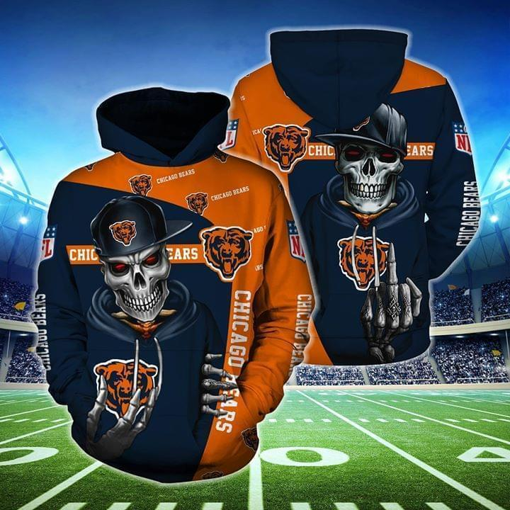 hip hop skull chicago bears football team full over printed hoodie 1