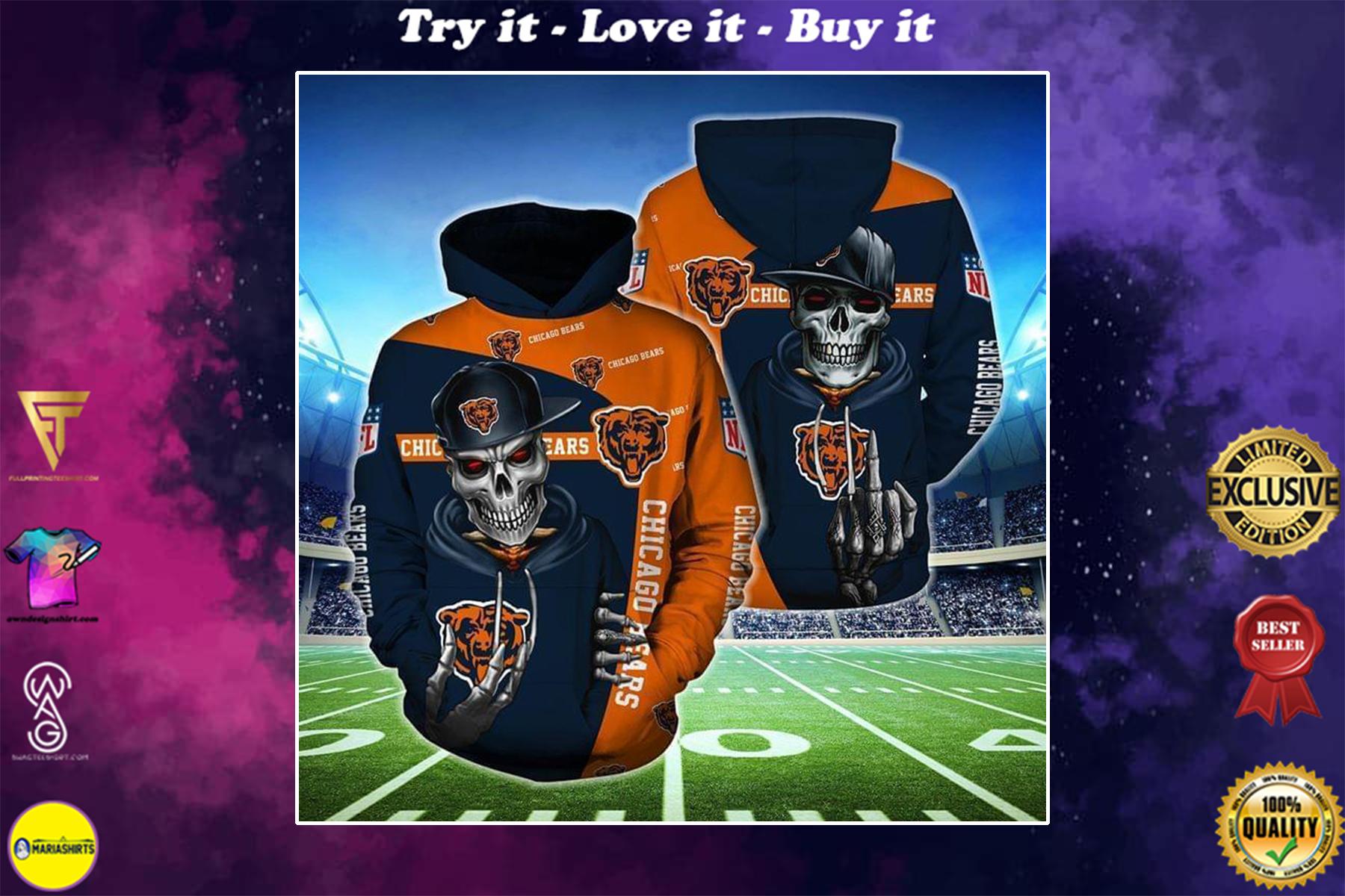 hip hop skull chicago bears football team full over printed shirt