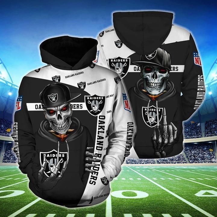 hip hop skull oakland raiders football team full over printed hoodie 1