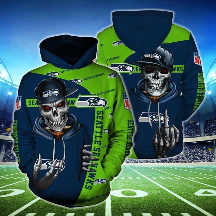hip hop skull seattle seahawks football team full over printed hoodie 1