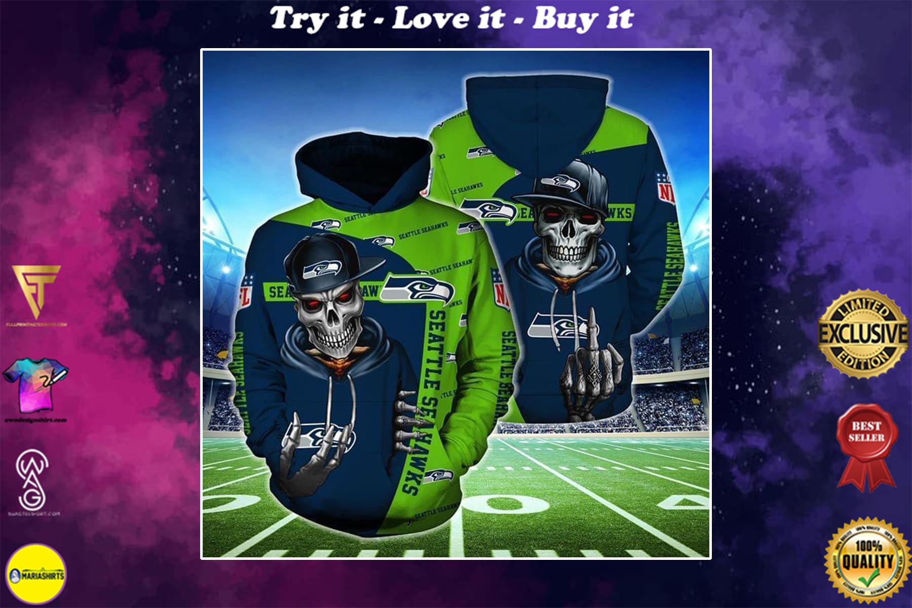 hip hop skull seattle seahawks football team full over printed shirt