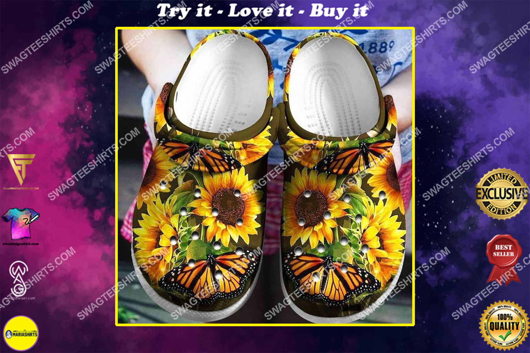 hippie butterfly and sunflowers all over printed crocs