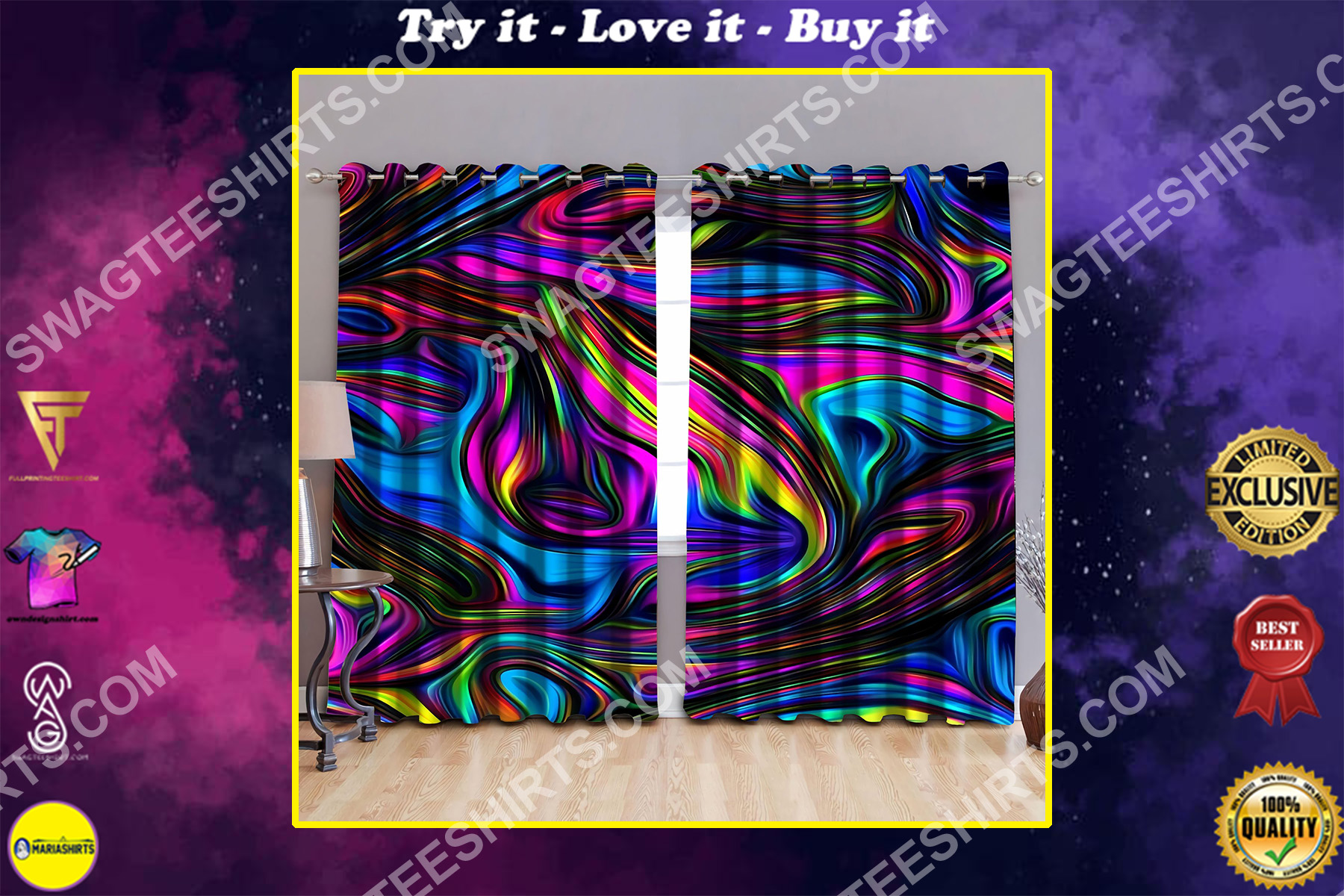 hippie colorful all over printed window curtains