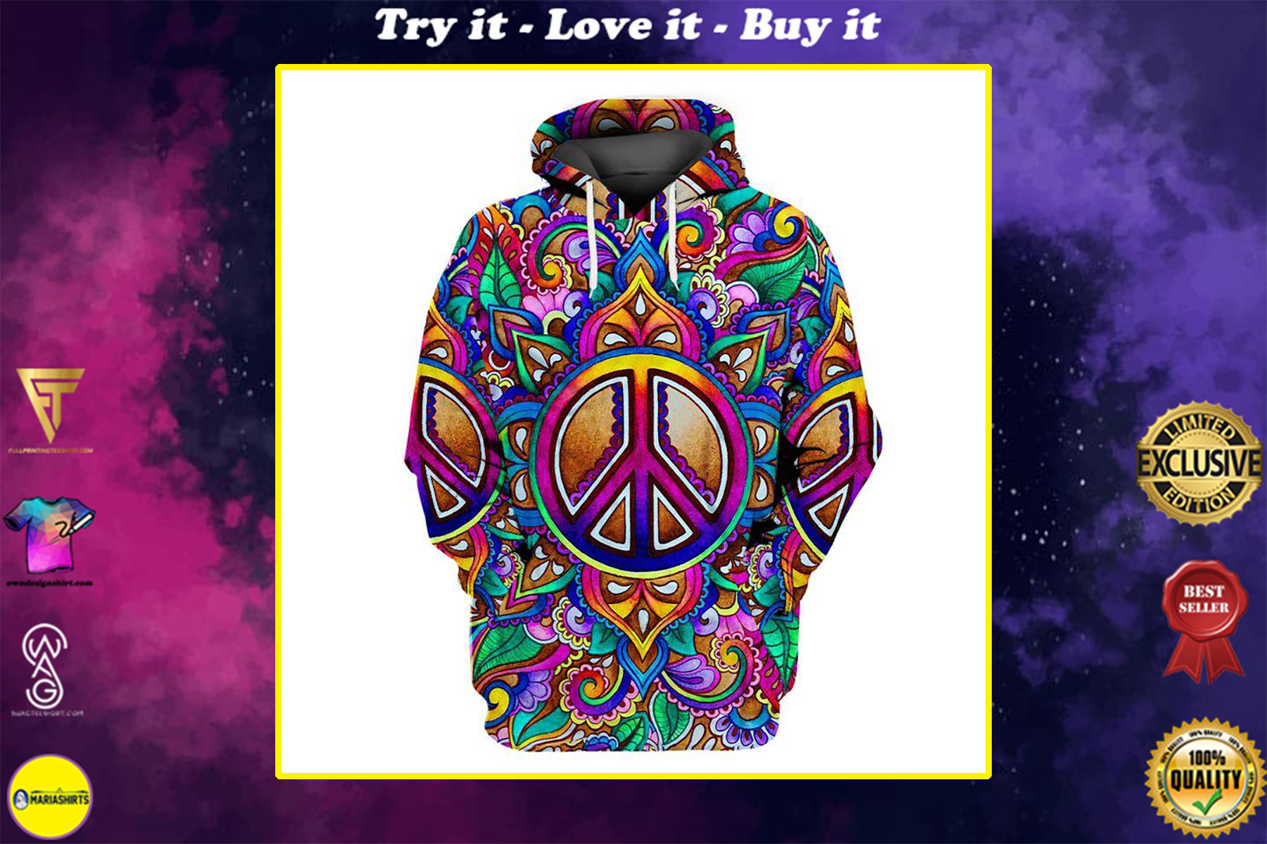 hippie colorful peace sign all over printed shirt