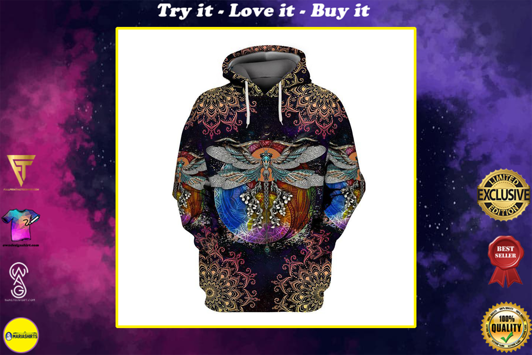 hippie dragonfly with mandala all over printed shirt