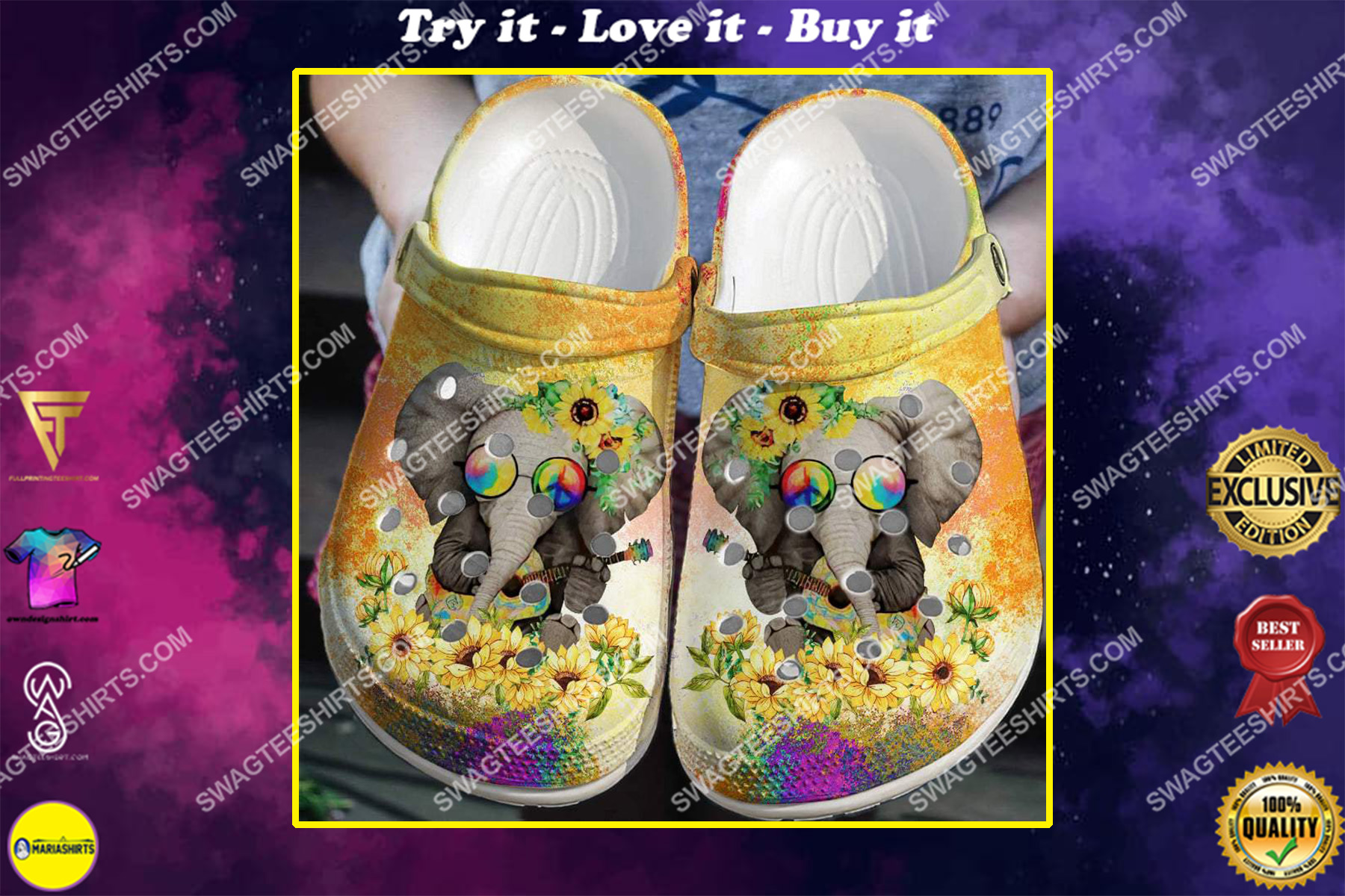 hippie elephant and sunflower all over printed crocs