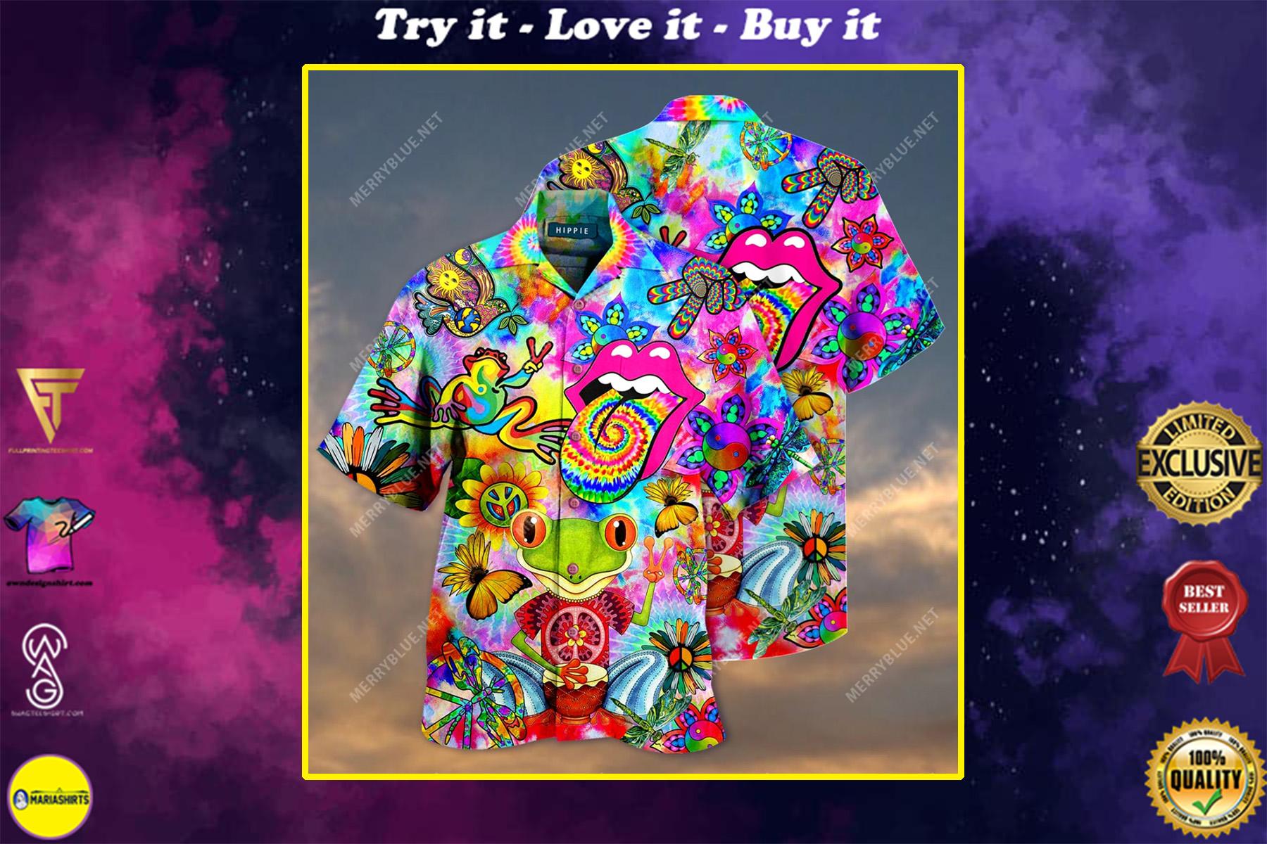 hippie feeling groovy colorful all over printed hawaiian shirt