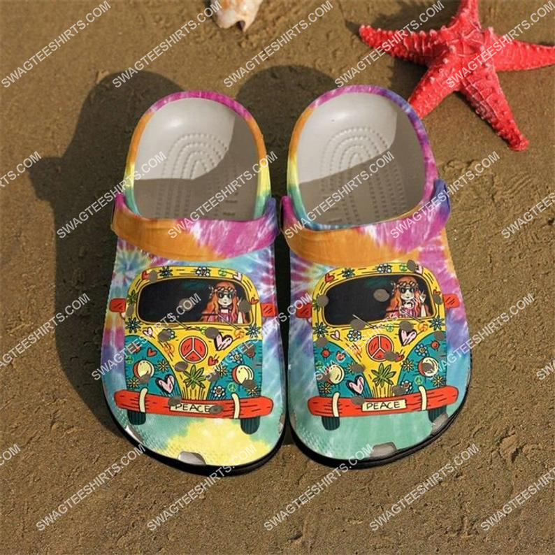 hippie girl and car all over printed crocs crocband clog 2