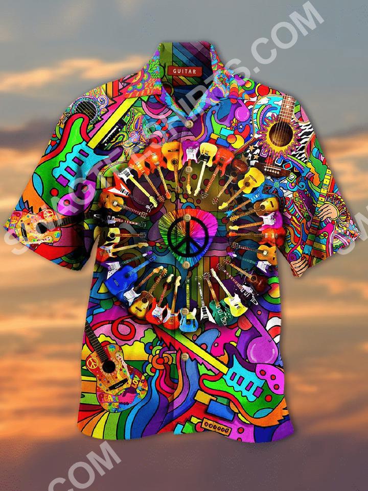 hippie guitar colorful all over printed hawaiian shirt 2(1)