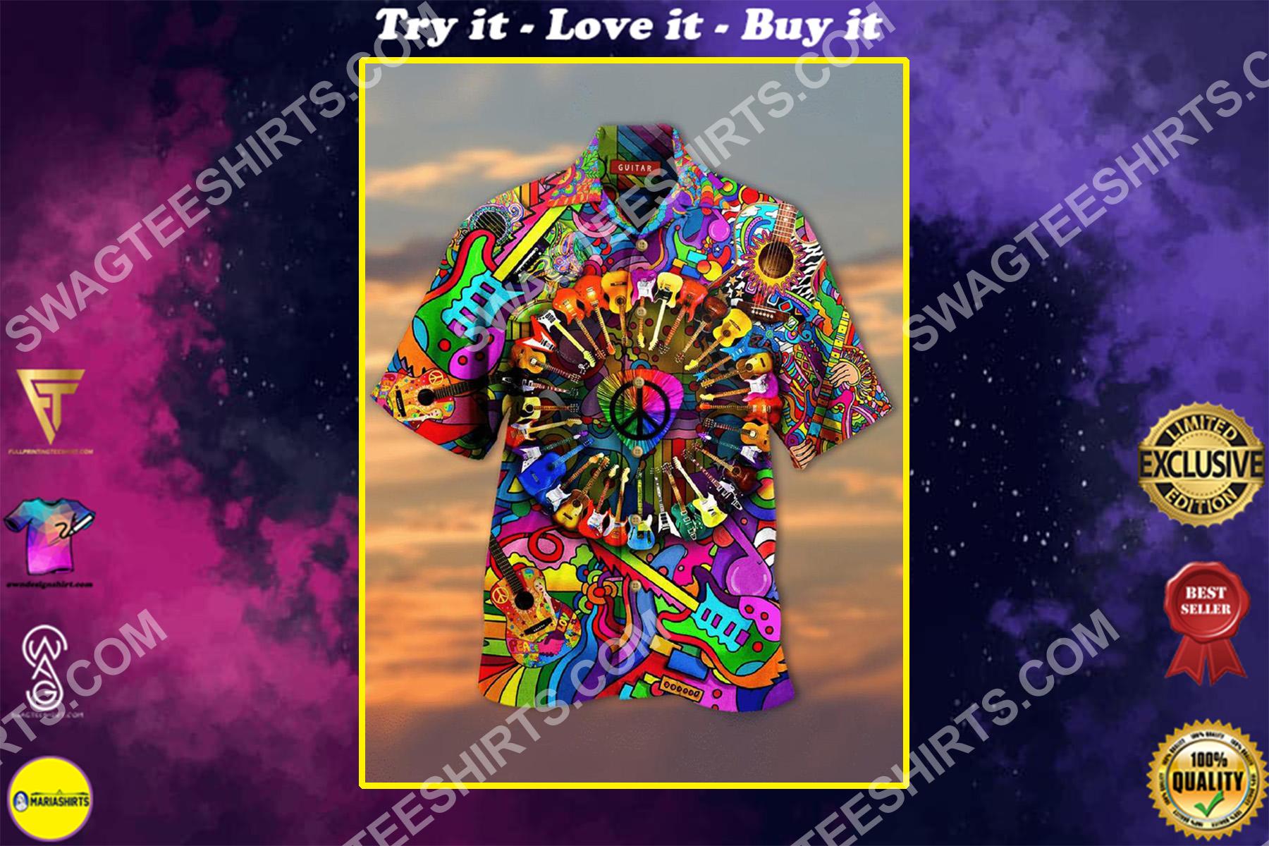 hippie guitar colorful all over printed hawaiian shirt