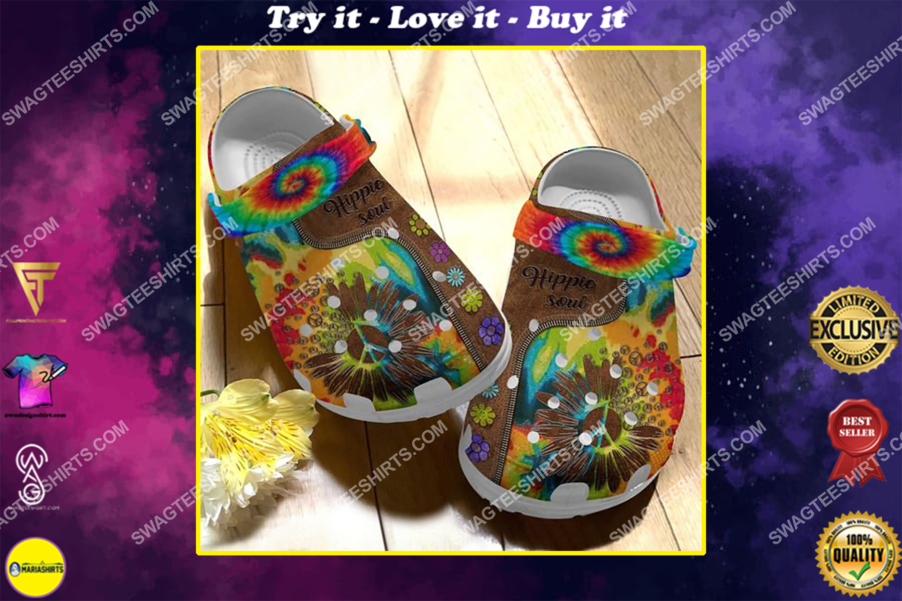 hippie soul and flower all over printed crocs