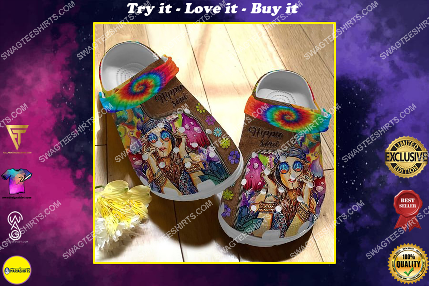 hippie soul and hippie girl all over printed crocs