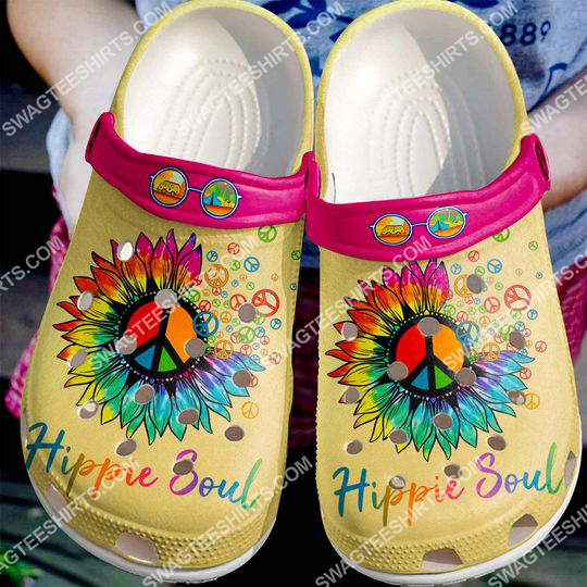 hippie soul peace symbol flower all over printed crocs 2