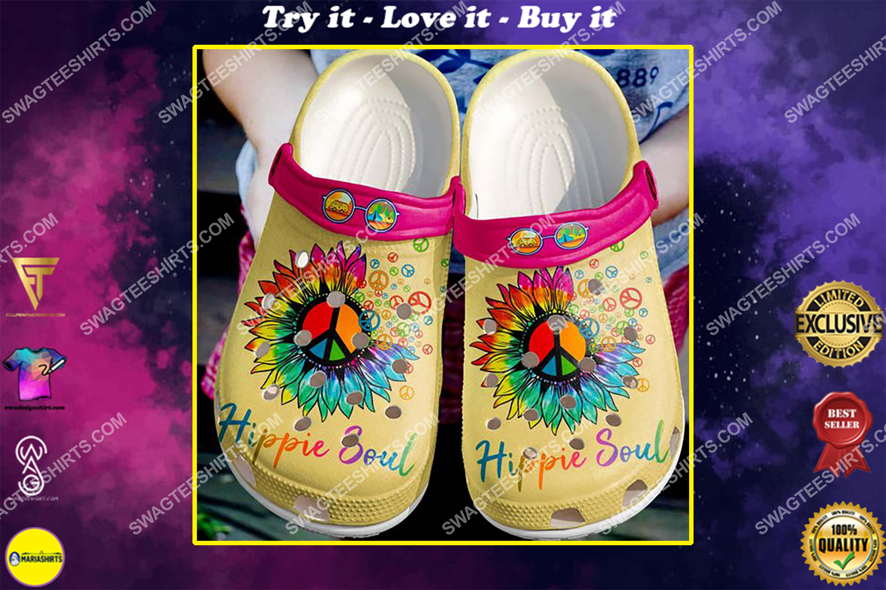 hippie soul peace symbol flower all over printed crocs